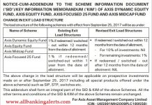 Axis mutual fund exit load structure change of equity funds notice