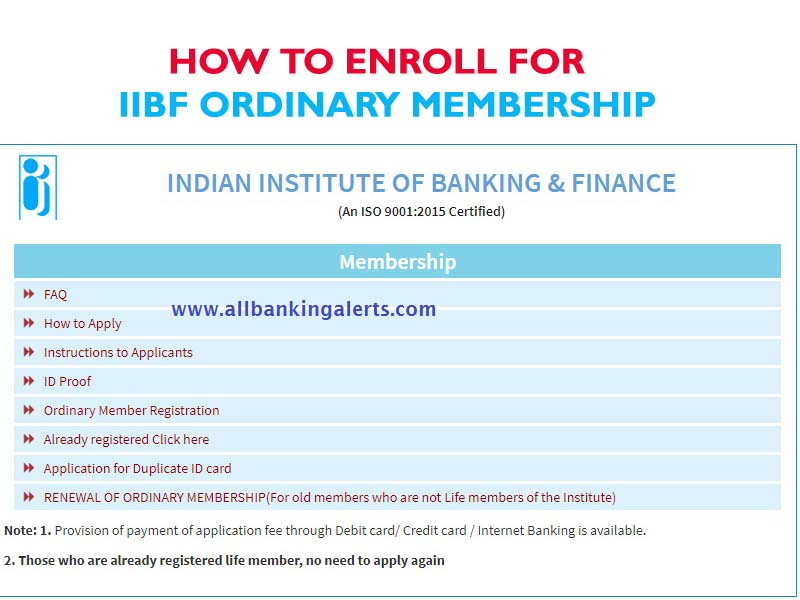 How to enroll online for IIBF ordinary membership