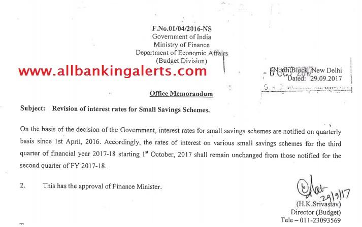 Interest Rate on Small Saving Schemes PPF, KVP NSC Sukanya Samridhi