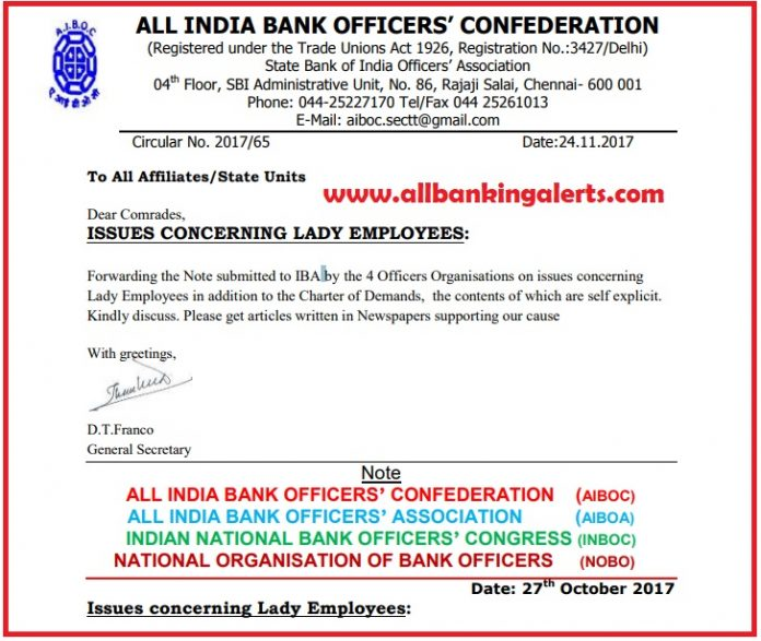 AIBOC Joint Note on issue concerning lady employees submitted to IBA