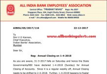 AIBEA Letter to IBA regarding Annual Closing on 01-04-2018