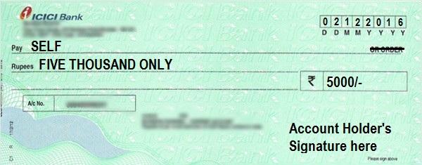 Self Cheque Example