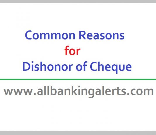 Common Reasons for dishonour of Cheque