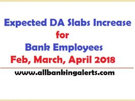 Expected DA Slabs Increase Bank Employee February 2018