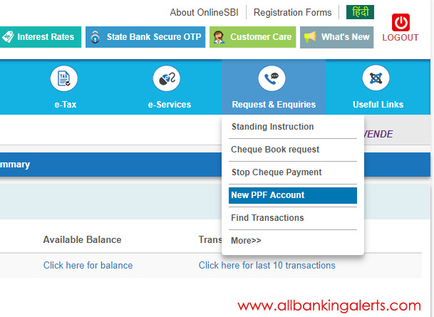 New PPF Account Online SBI