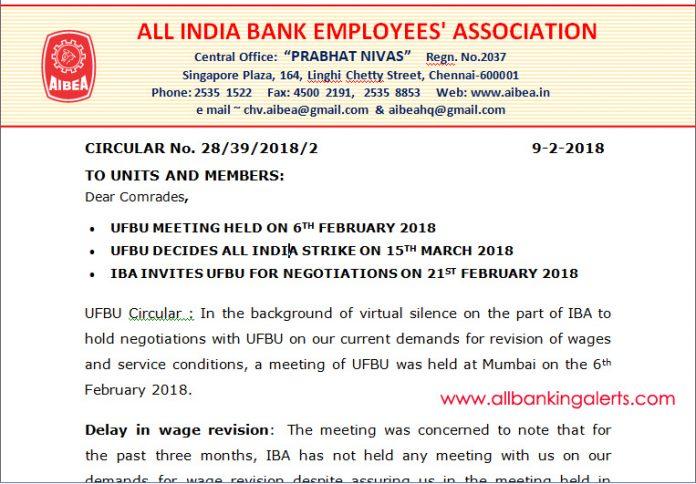 AIBEA Circular IBA invites UFBU for wage negotiations on 21 feb 2018