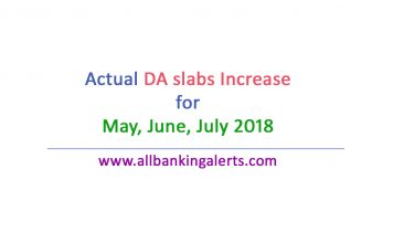 Latest DA slabs increase for bank employees may 2018