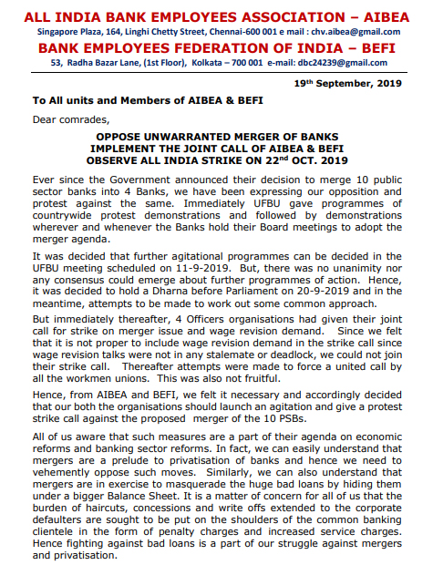 AIBEA BEFI Joint Call for Strike on 22 OCtober 2019 Circular