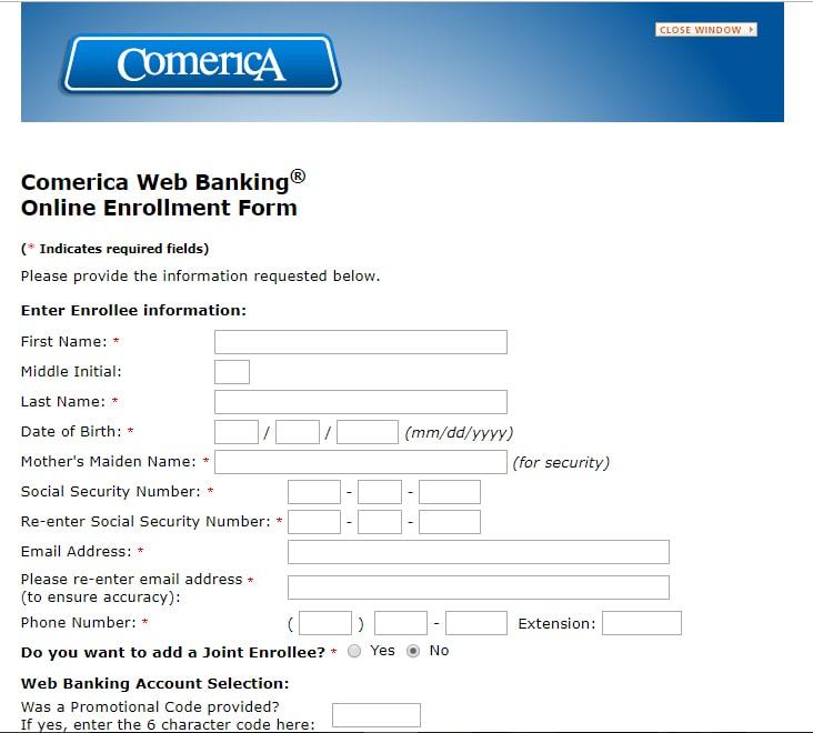 Comerica Web Banking Online Enrollment Form