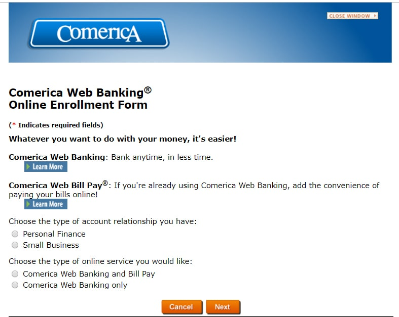 sign up comerica web banking online new users