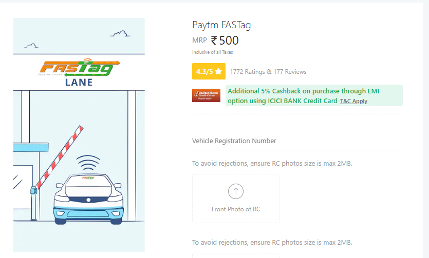 Buy Paytm Fastag at Rs 500
