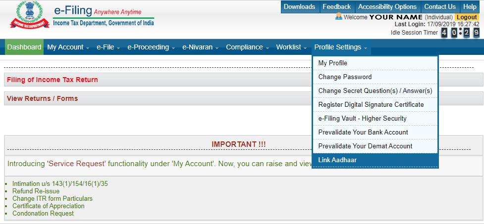 PAN Aadhaar Link Status Check Online