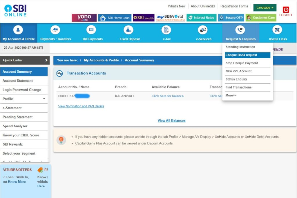 Request for SBI Cheque Book under Request & Enquiries Tab