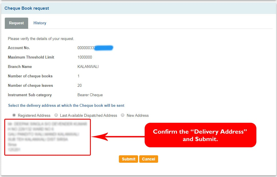 Confirm the Delivery Address to request for new SBI Cheque book