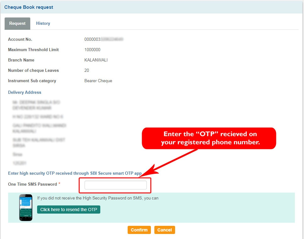 Enter High Security One Time Password (OTP) received on registered mobile number