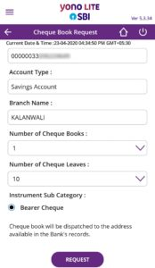 Fill Cheque Book Request Form through SBI Yono App