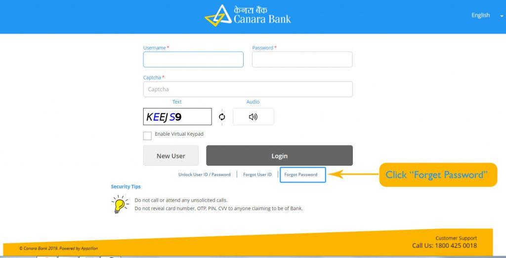 Forgot Login Password Canara Bank Net Banking- Reset Login Password
