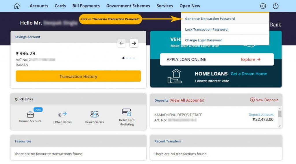 Generate or Reset Transaction Password in Canara Bank Internet Banking