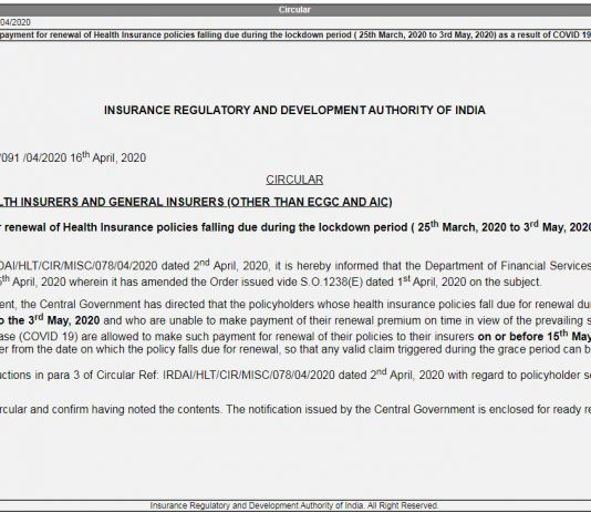 IRDAI Circular Premium Payment for Renewal of Health Insurance, Grace Period for Health insurance policies extension circular