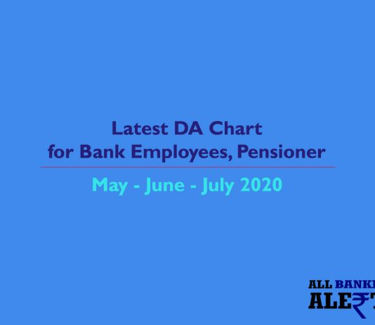 Latest DA Increase Chart for Bank Staff Clerk Pensioners May 2020