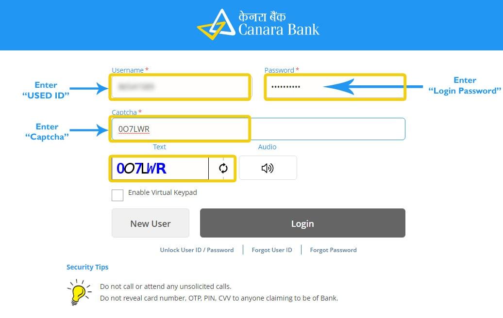canara bank internet banking user creation