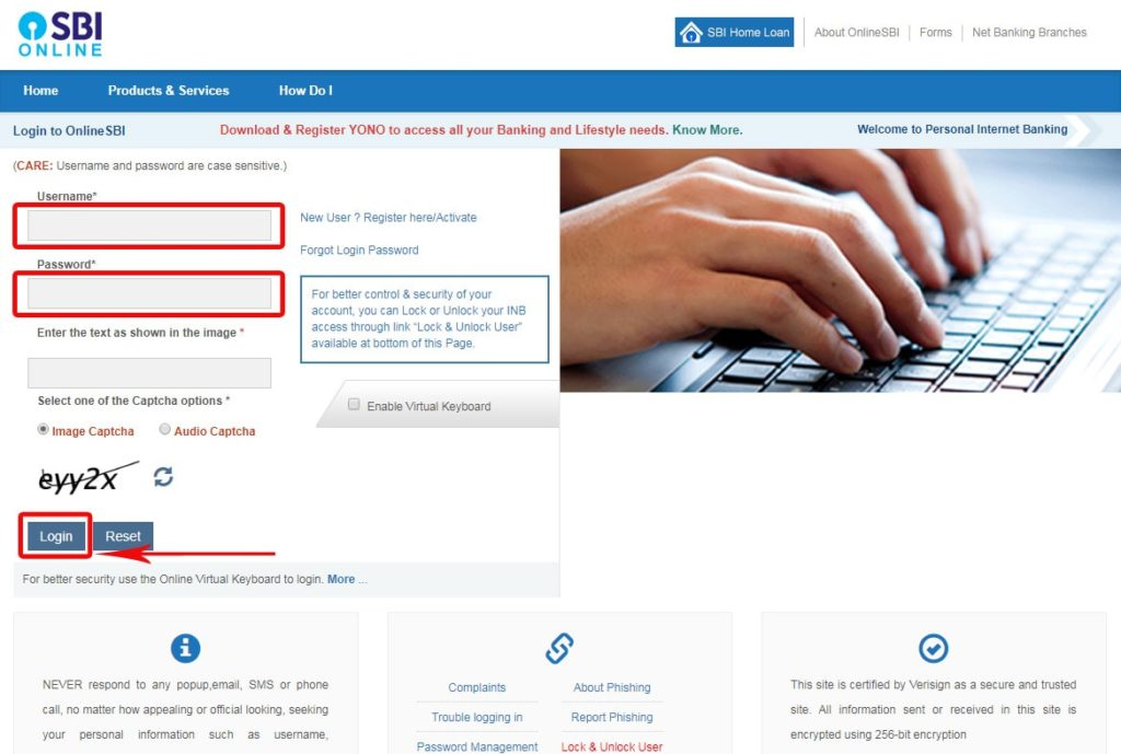 Login to SBI Internet Banking for SBI Cheque Book Request