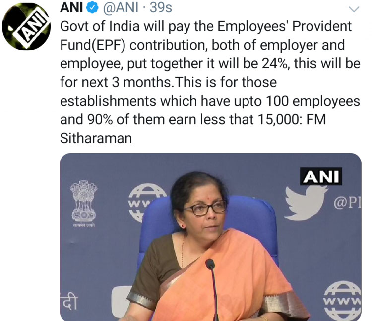 PMGKY 2020 Govt will pay EPF contribution for next 3 months