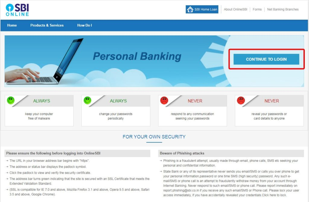 Login to SBI Internet Banking Online Portal to Request for SBI Cheque Book