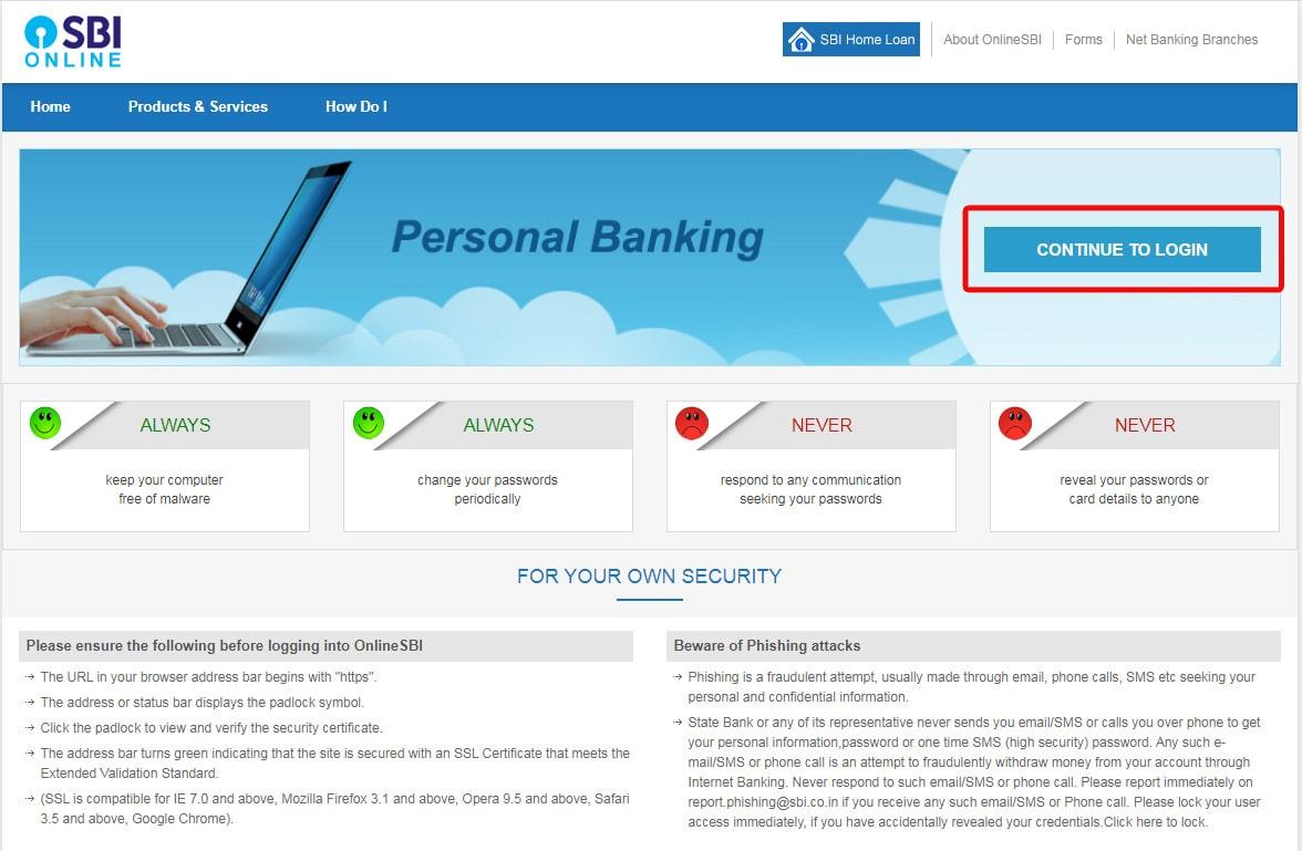 Login to SBI Online Banking Portal