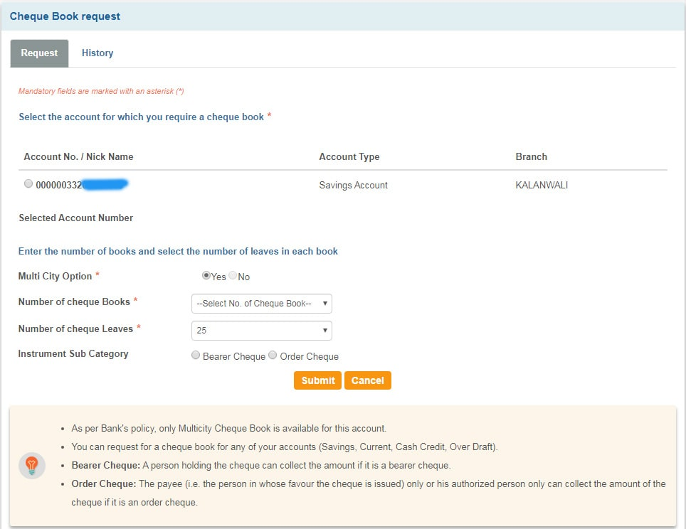 SBI Cheque Book Request Online Form