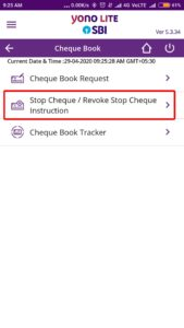 Select Stop Cheque Revoke Cheque Instructions SBI YONO