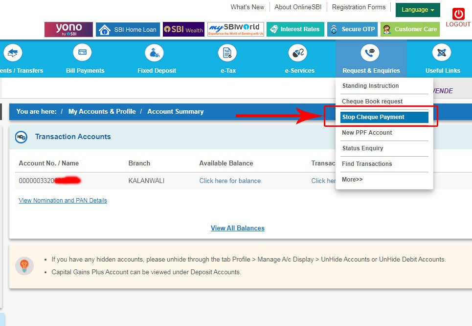 Stop Cheque Payment using SBI Online Portal
