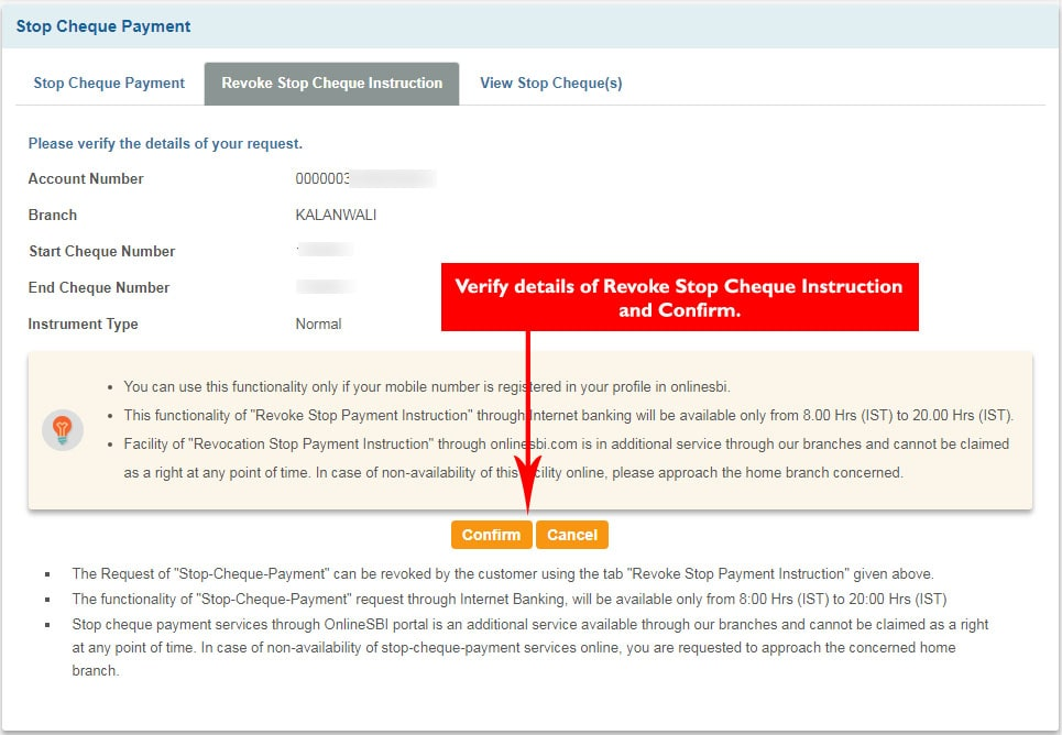 Verify Revoke Stop Cheque Payment request in SBI Online Banking