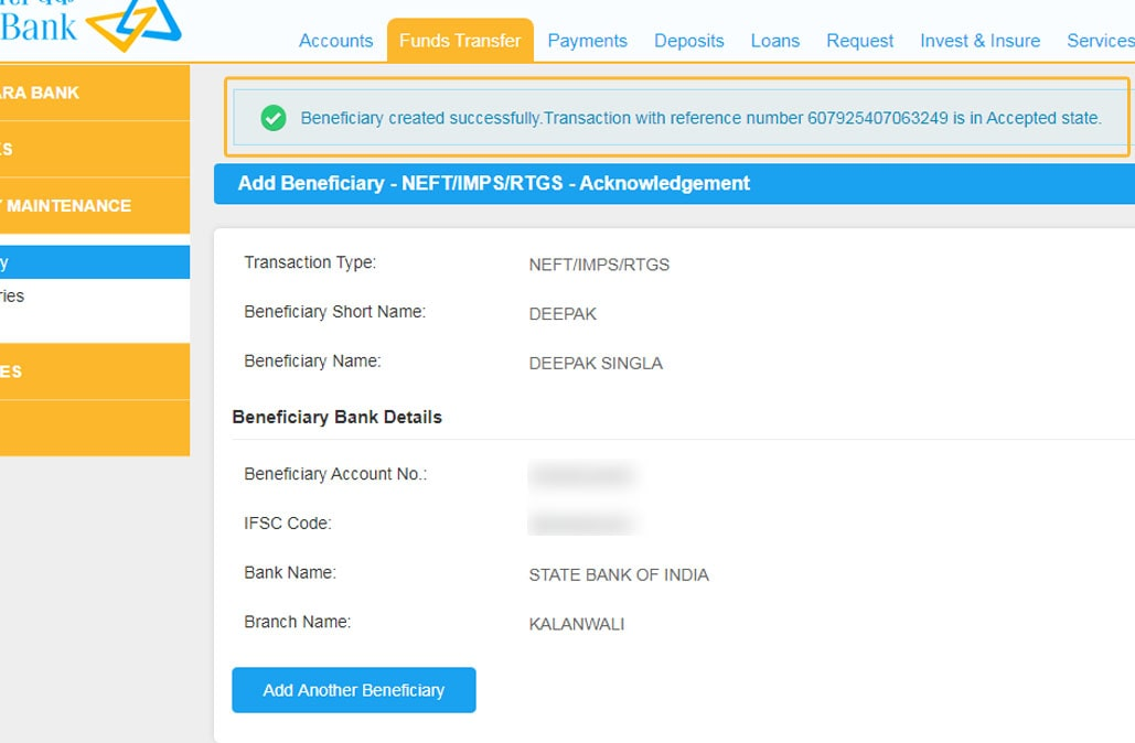 Beneficiary Added Successfully Reference Number in Canara Net Banking