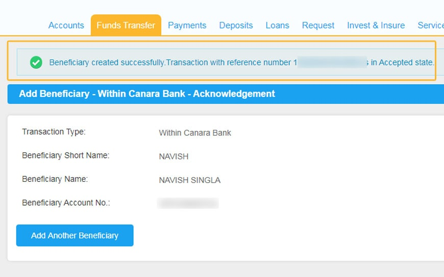 Beneficiary Added Successfully Reference Number