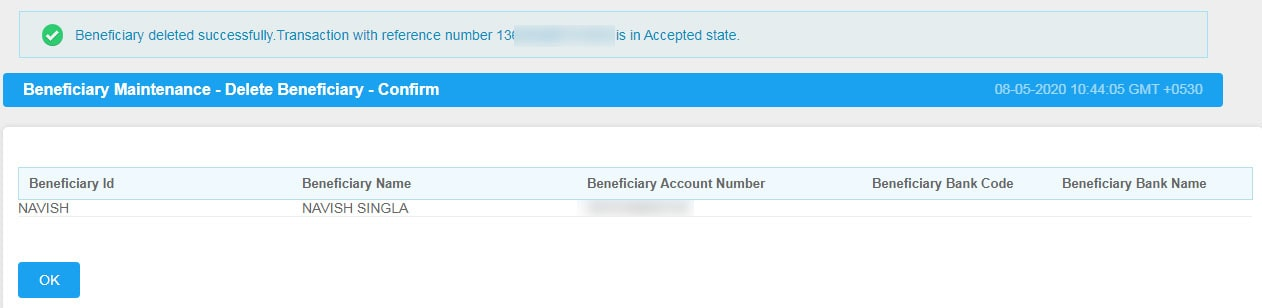 Beneficiary Deleted Successfully Reference Number