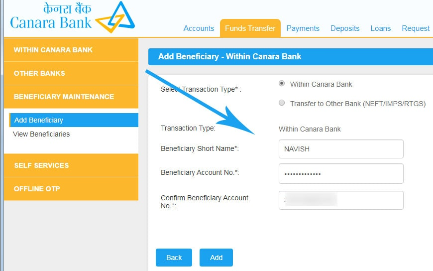 Add Beneficiary Details in Canara Internet Banking