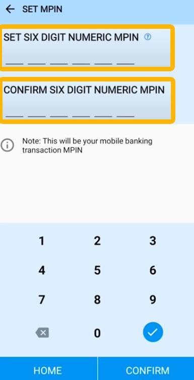 Canara Bank Reset Six Digit Numeric MPIN