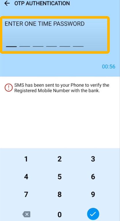 Enter OTP to Reset Mobile Banking Passcode in Canara