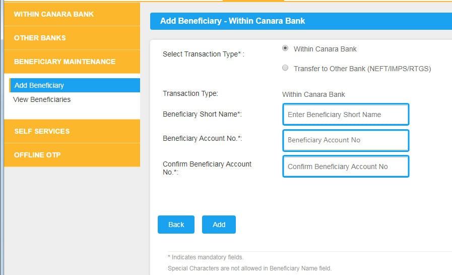 Select Within the Canara Bank