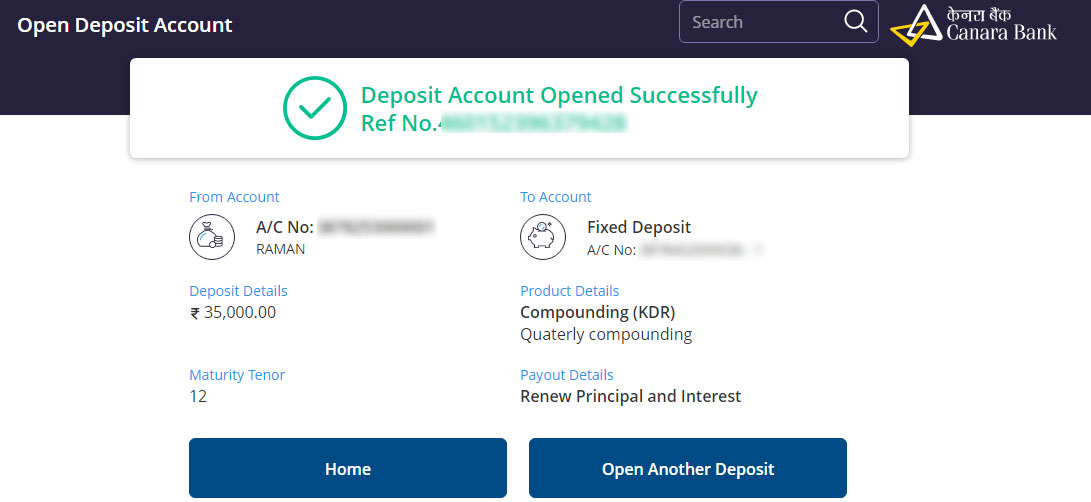 Fixed Deposit (FD) Account Opened Successfully Reference Number