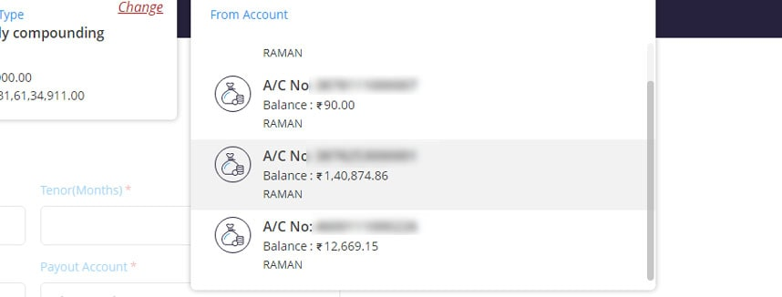 Select Account Number from which you open FD