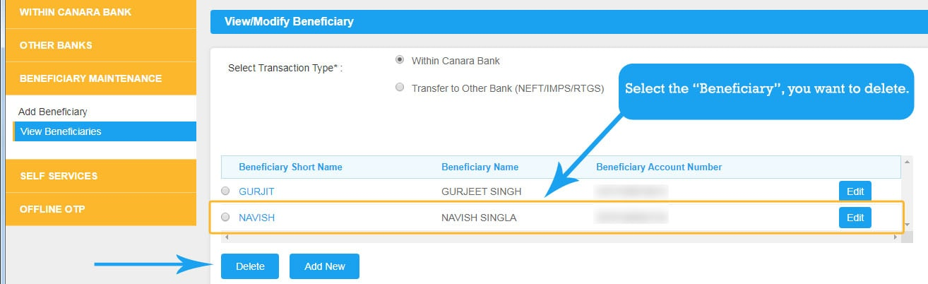 Select Beneficiary to Delete in Canara Net Banking