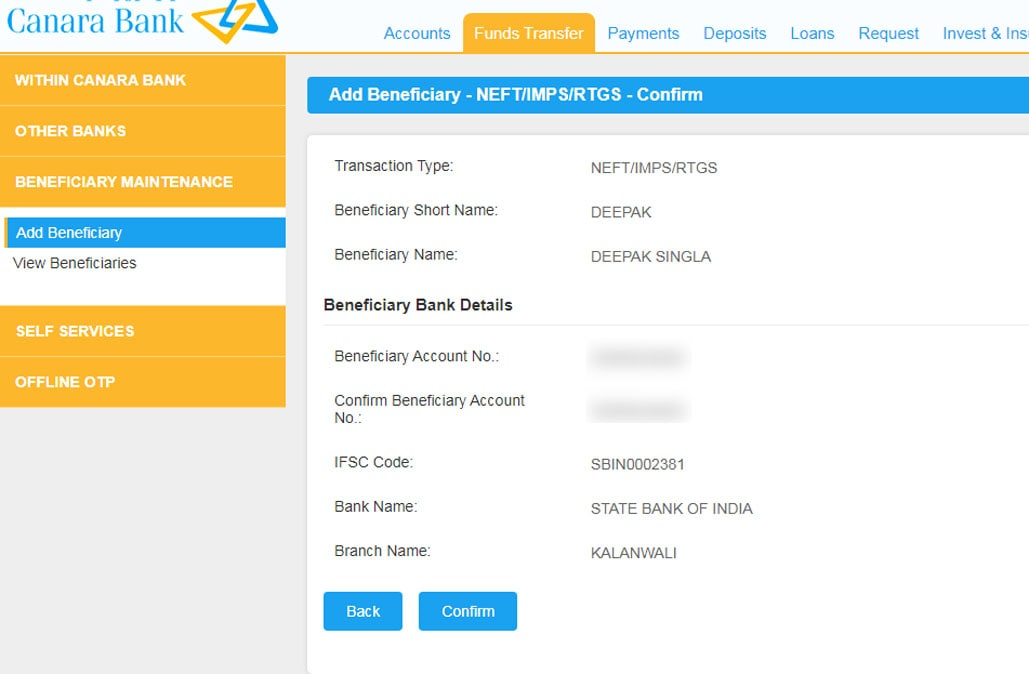 Verify the details of beneficiary and confirm