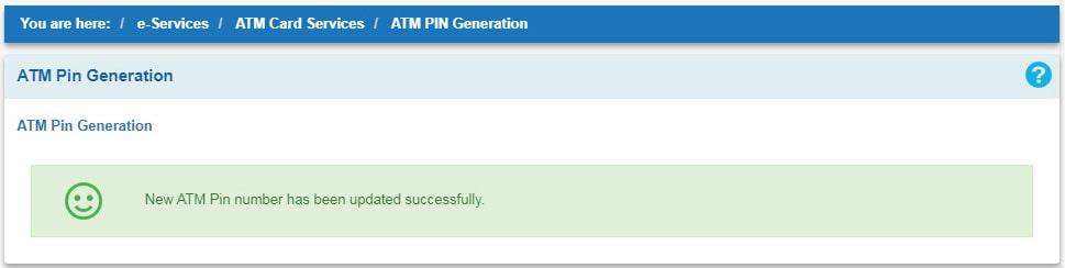 ATM PIN Generation Succesfull Message - SBI Net Banking