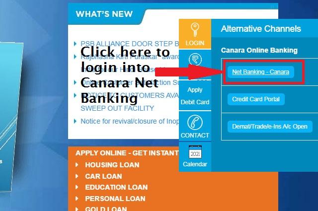 Click Canara Net Banking-Retail to Login Net Banking