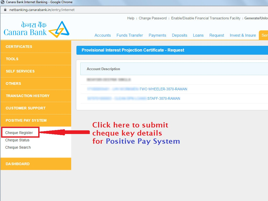 Click Cheque Register Option - Positive Pay System Canara Net Banking