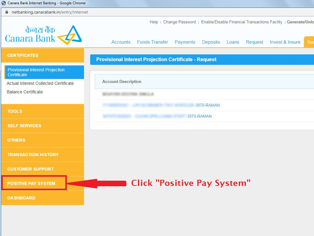 Click Positive Pay System on Left Sidebar-Canara Internet Banking