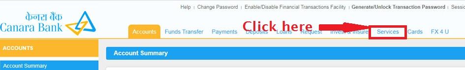 Click Service on top Navigation Bar - Canara Net Banking