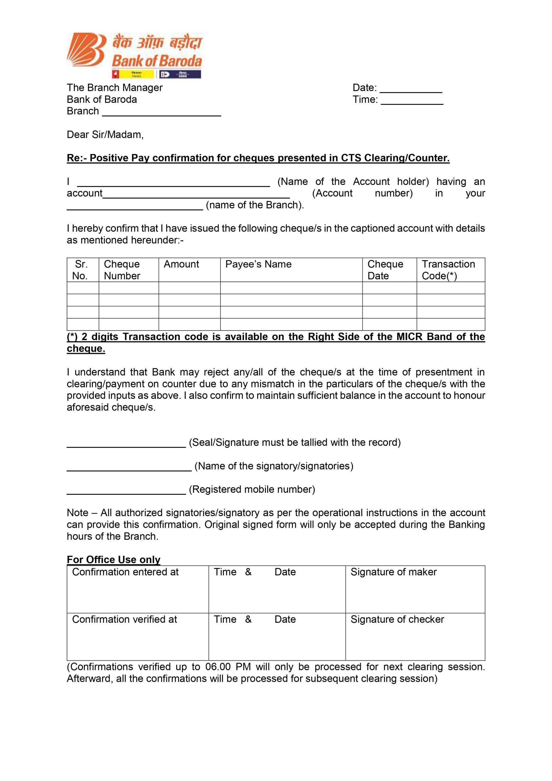 Download Positive Pay Application Form Bank of Baroda PDF